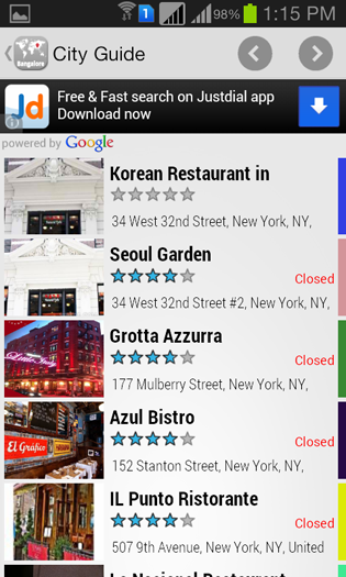 Screenshots - City Guide Android App