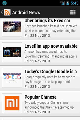 Screenshots - Pre-Installed RSS Reader for Android