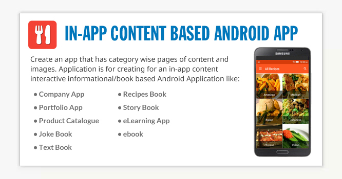 In-App Content based Android App