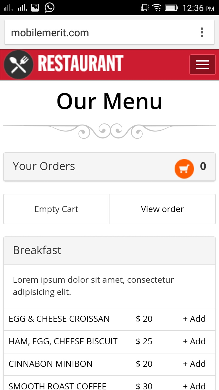 Mobile website for Restaurant