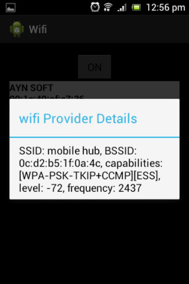 Android App for detecting WiFi Signal