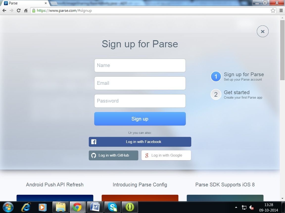 Get Parse App Key and Client Key